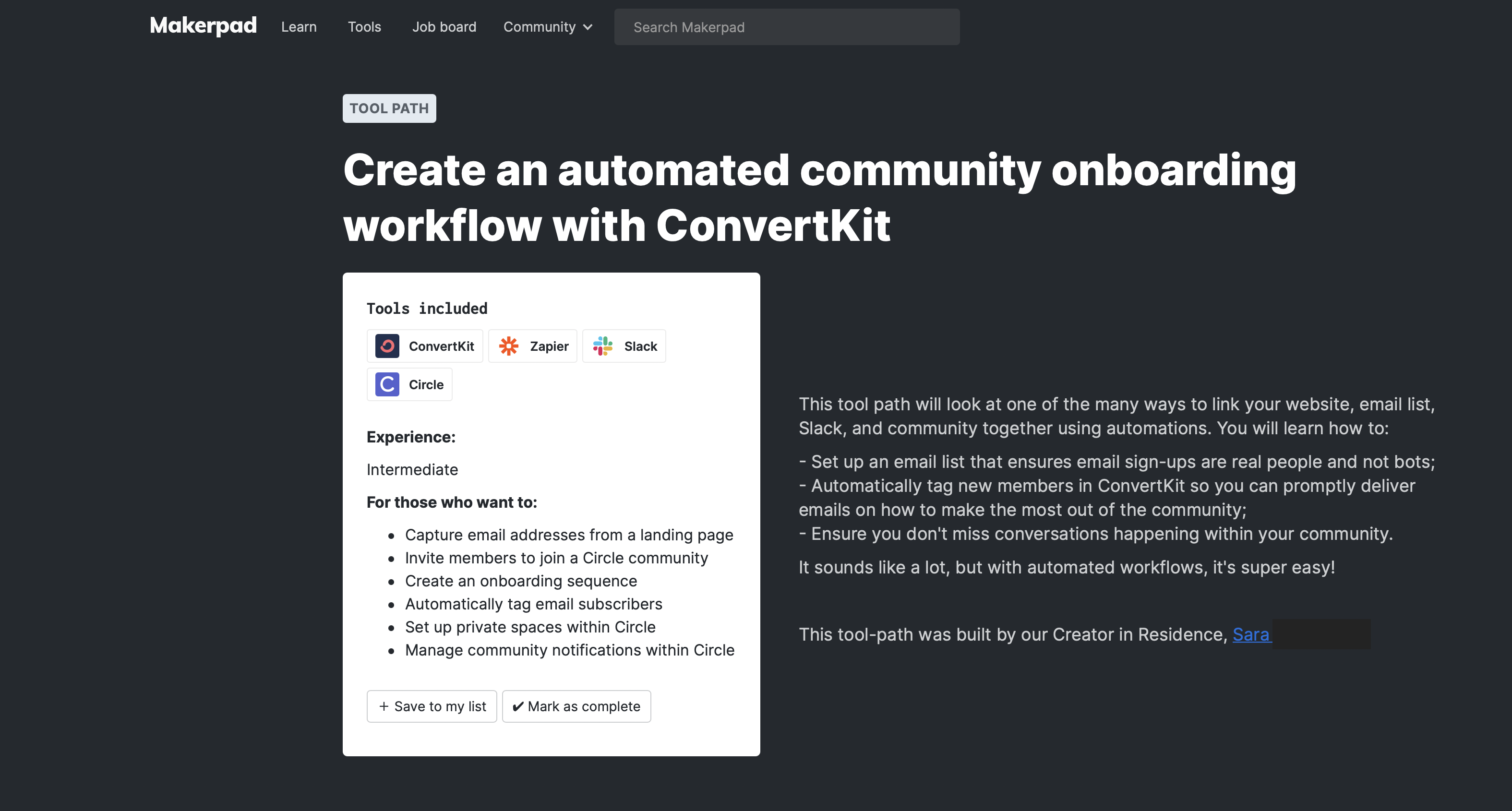 Create an automated community onboarding workflow with Convertkit