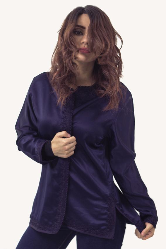 Donkerblauwe tuniek mouwen