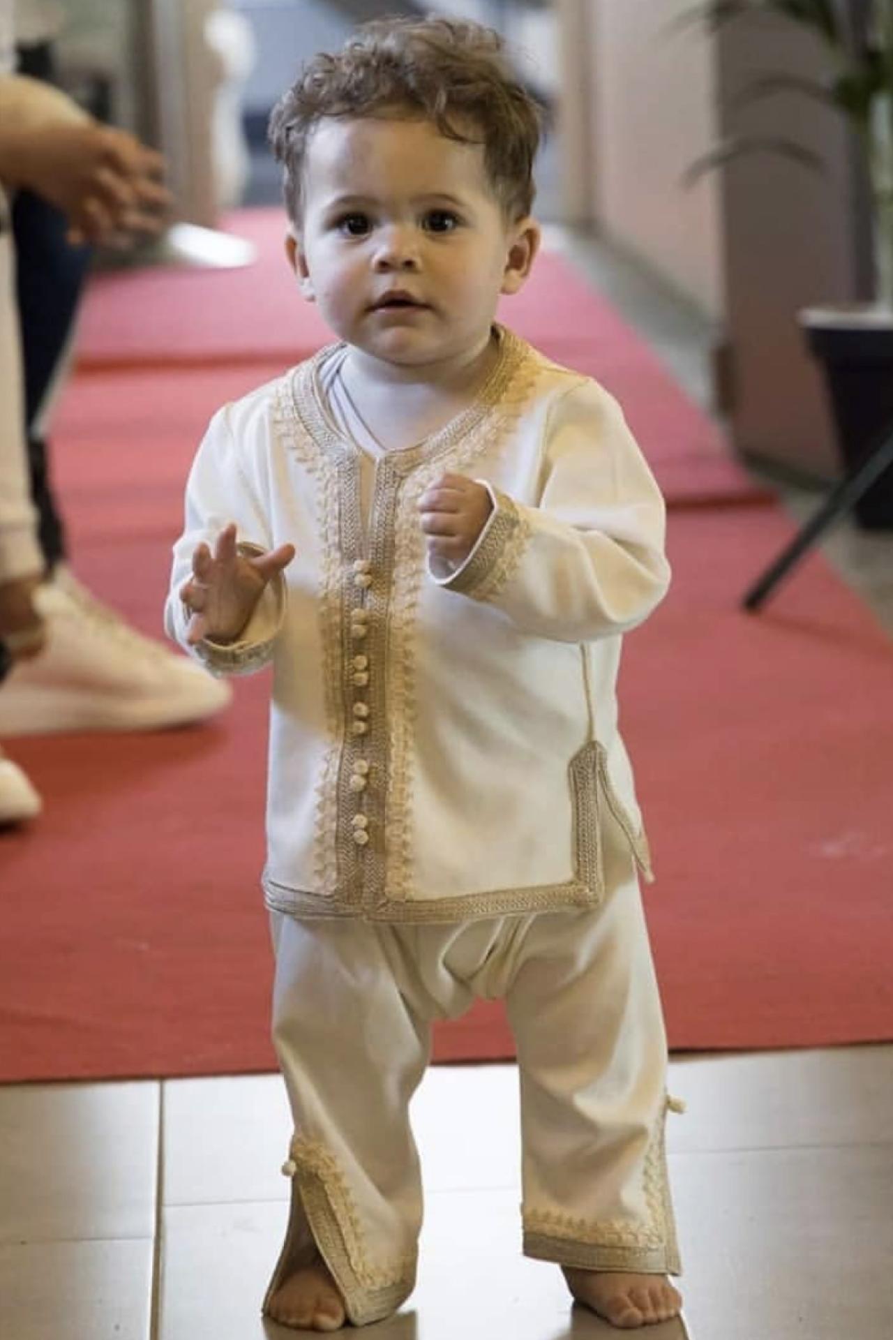 Wit jongens qandora met broek set