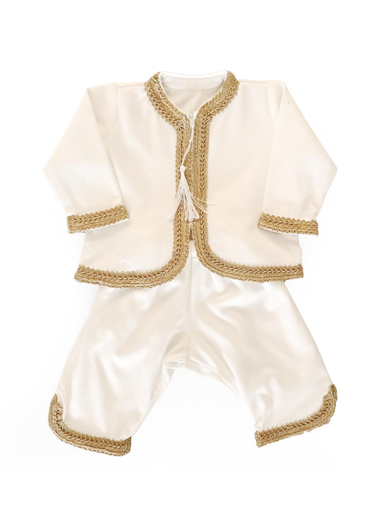 Witte baby jabador set met gouden sfifa