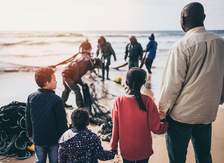 Asylum seekers at the beach