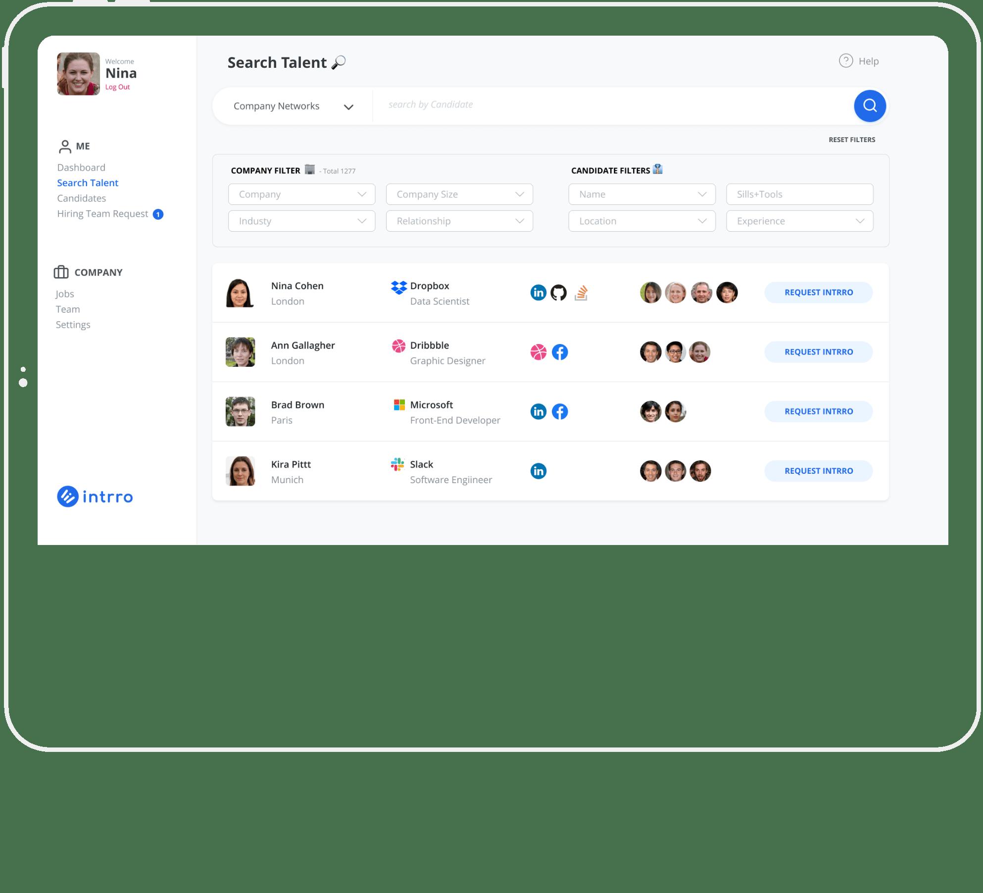 Intrro Search Talent Screenshot
