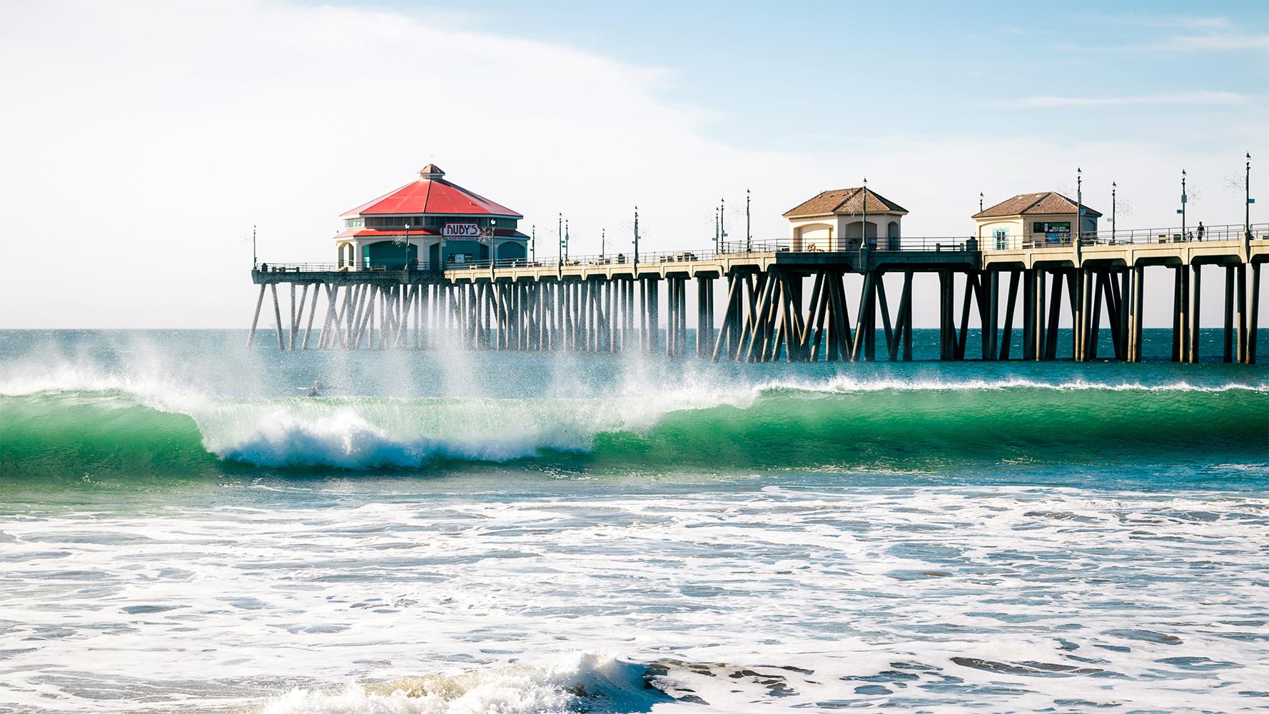 Huntington Beach pier, California.
