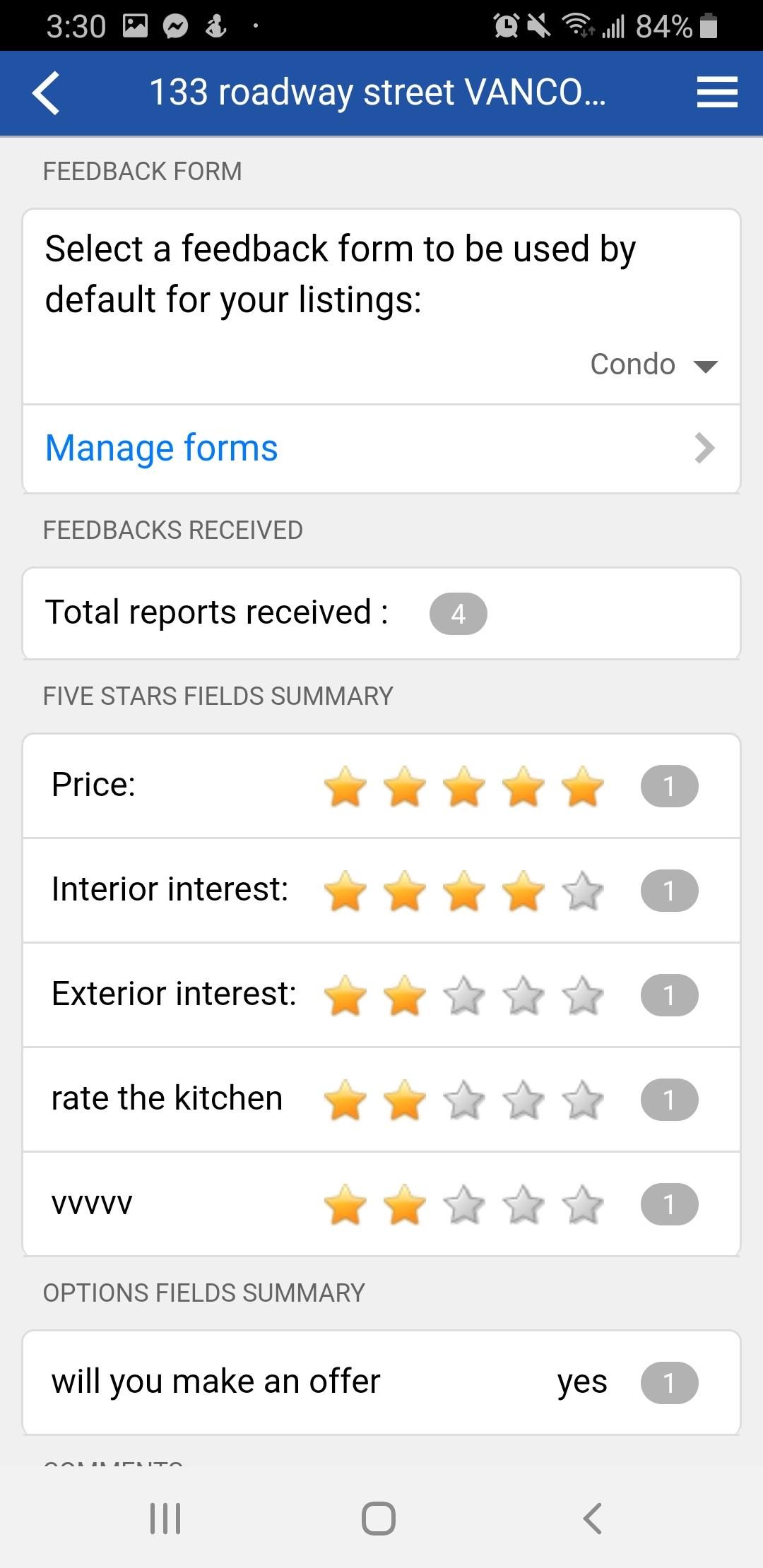 Touchbase custom feedback