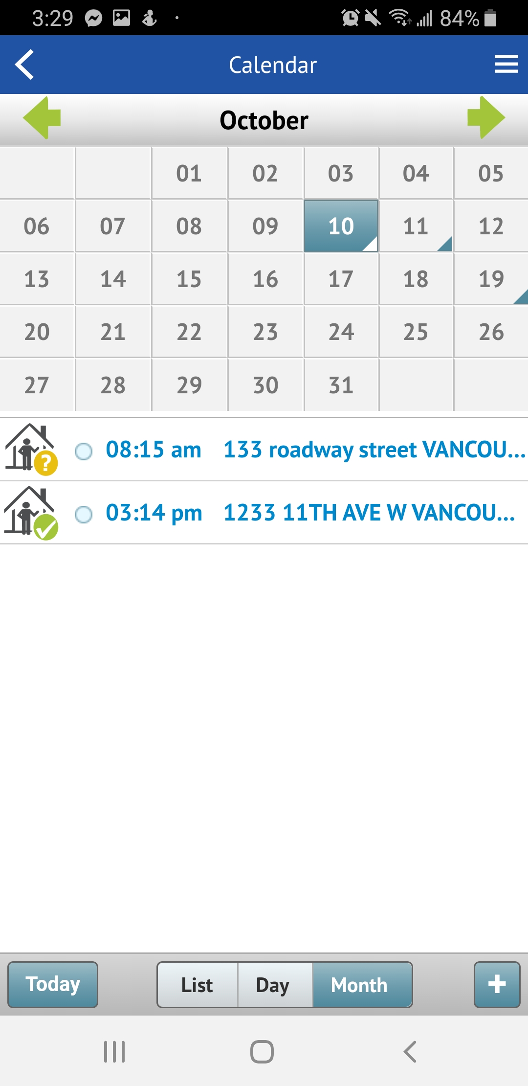 Touchbase calendar