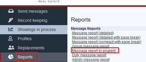 Real estate property report