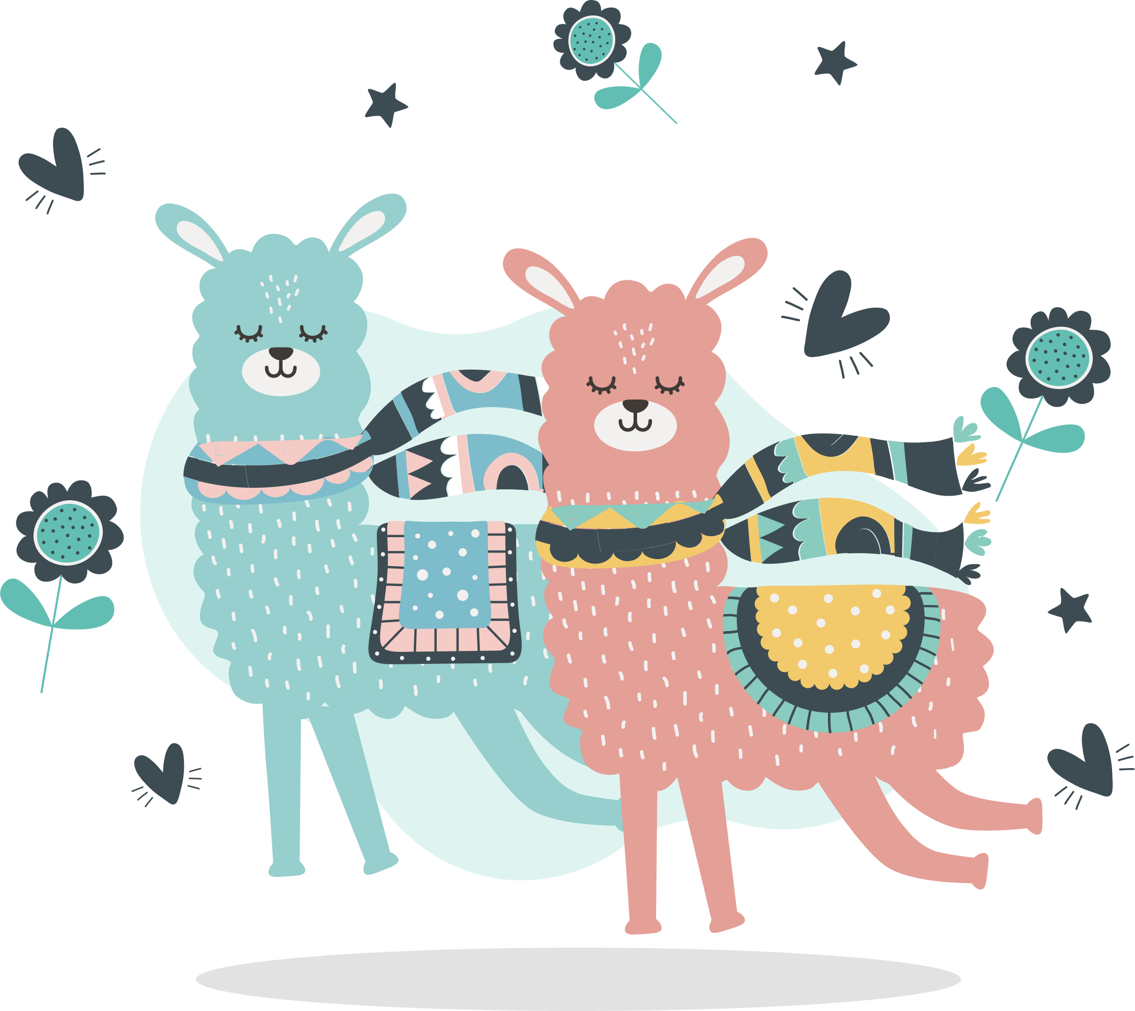 Two llamas with scarves on hopping around