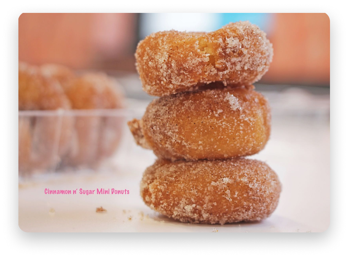 Two mini-donuts stacked on top of each other