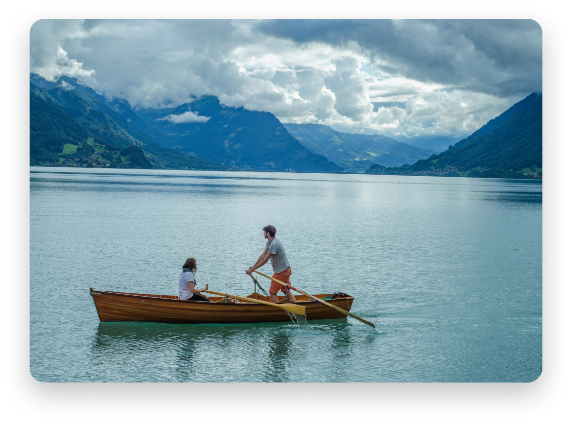 Man and woman on canoe