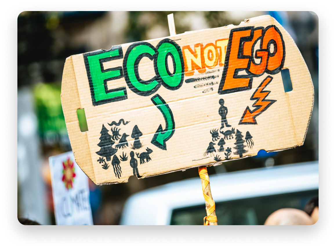 """A sign at a protest that says """"Eco not Ego"""" with the green coloured eco word pointed at drawings of nature, and the red coloured """"ego"""" word pointing to symbols of a person"""