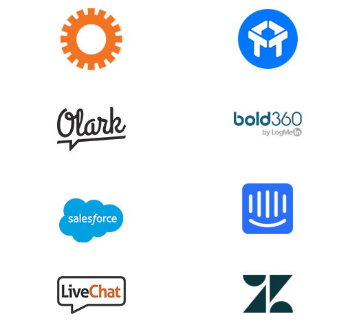 A wall of logos showing well-known chat tools and martech tools such as SalesForce, ZenDesk, and Drift
