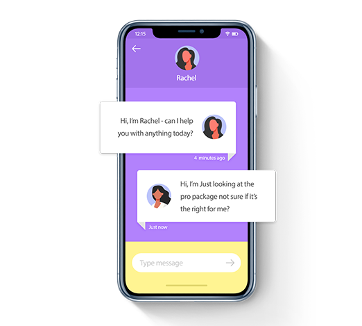 An illustration of an online chat conversation on an iPhone
