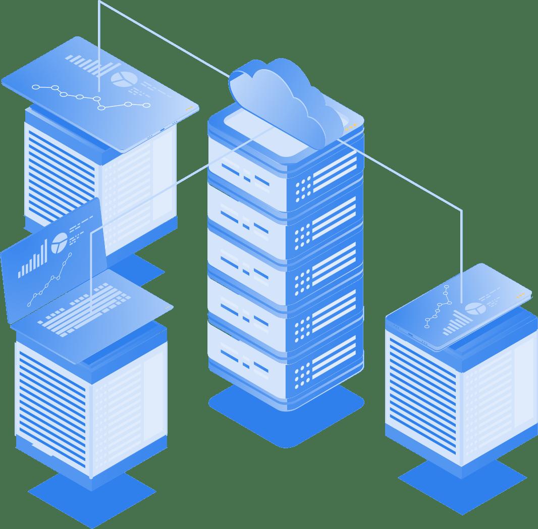 Cloud Illustration zeigt Workstations und mobile Endgerät