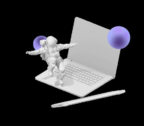 Diseño web con astronauta