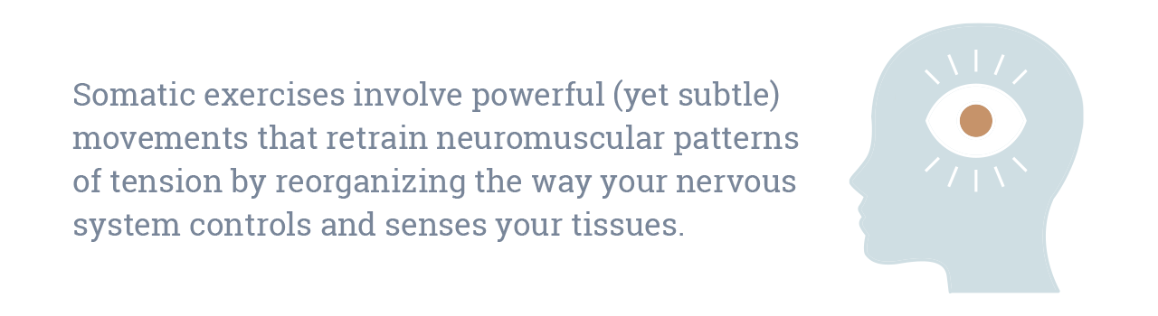 Somatic exercises involve powerful (yet subtle) movements that retrain neuromuscular patterns of tension by reorganizing the way your nervous system controls and senses your tissues.