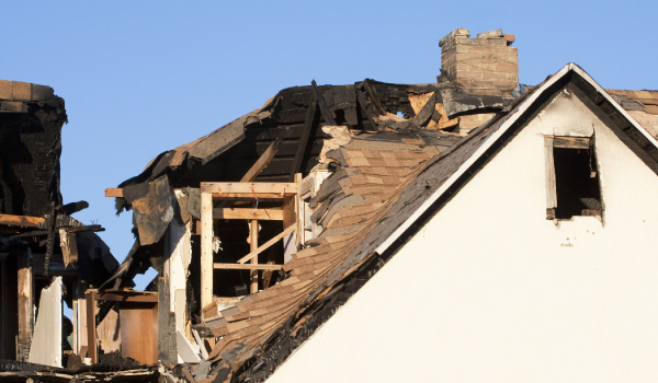 roof damages due to fire