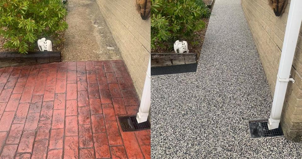 resin bonded walkway providing anti-slip surface for OAP