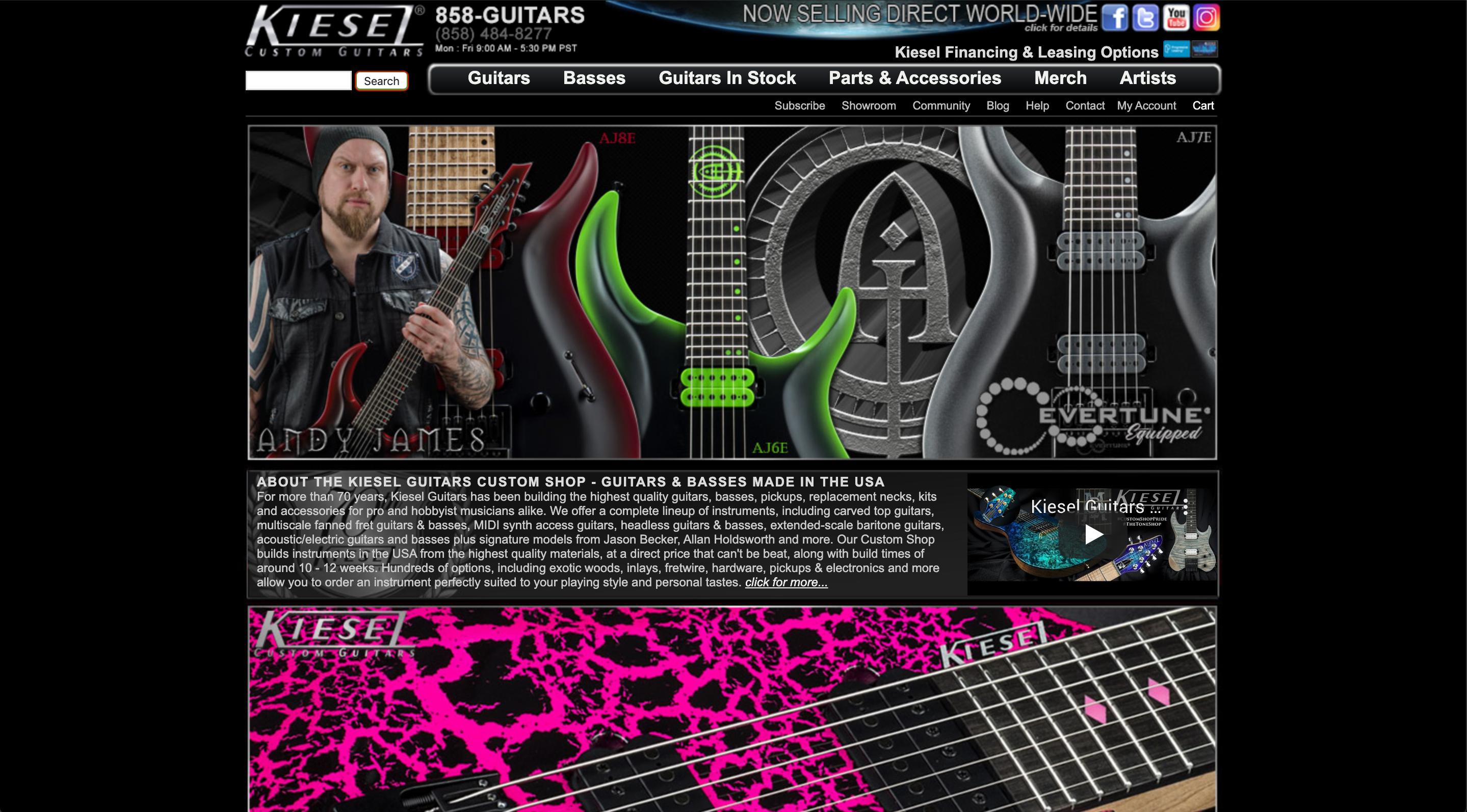 Kiesel guitars' old website (picture 1)