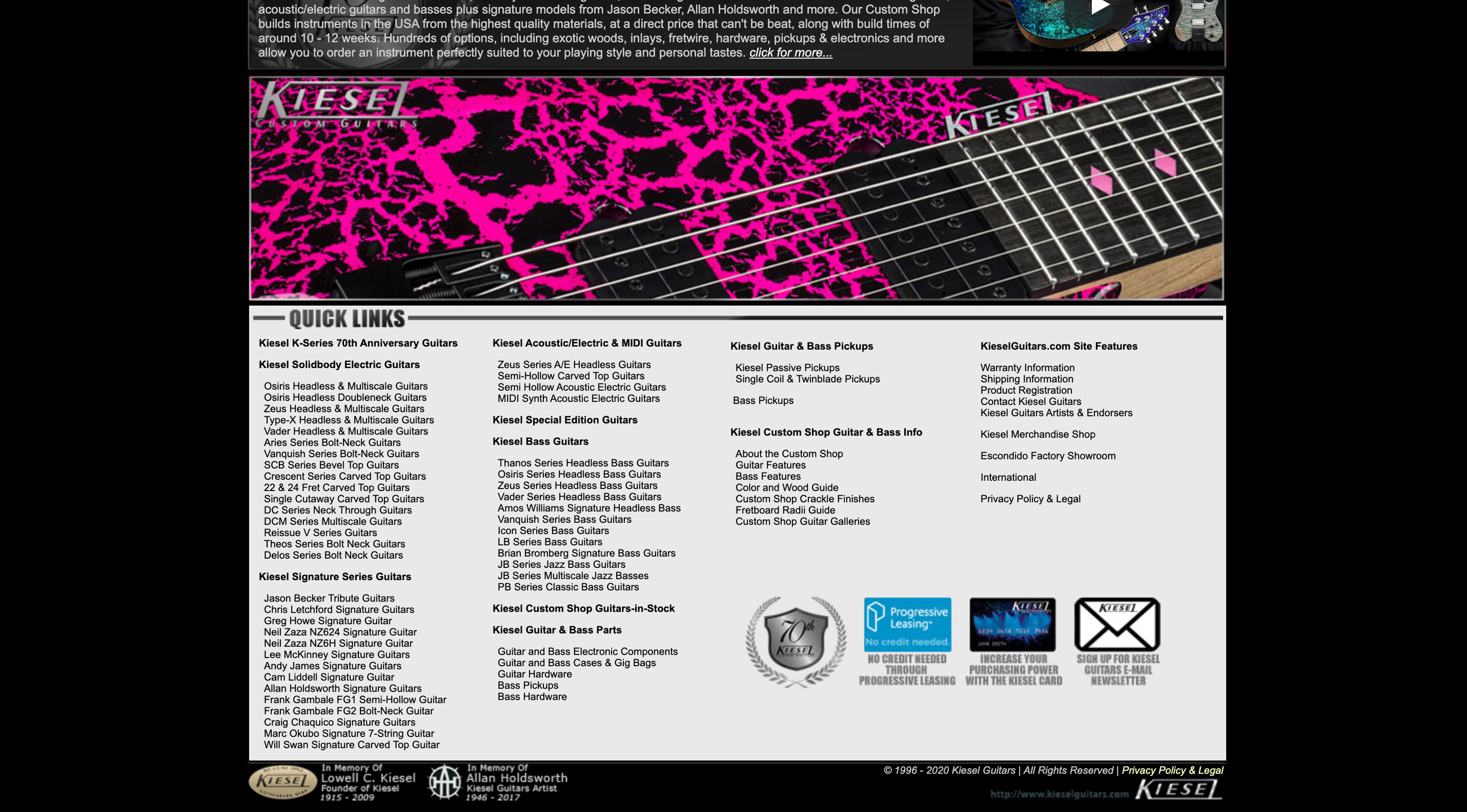 Kiesel guitars' old website (picture 2)