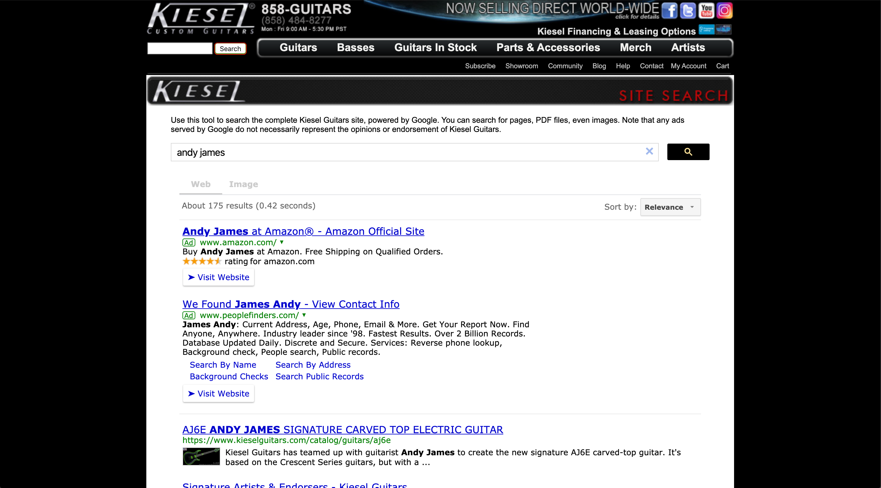 Kiesel guitars' old website (picture 3)