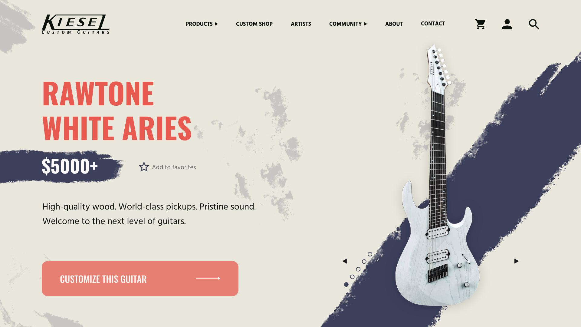 Kiesel guitars UI exploration