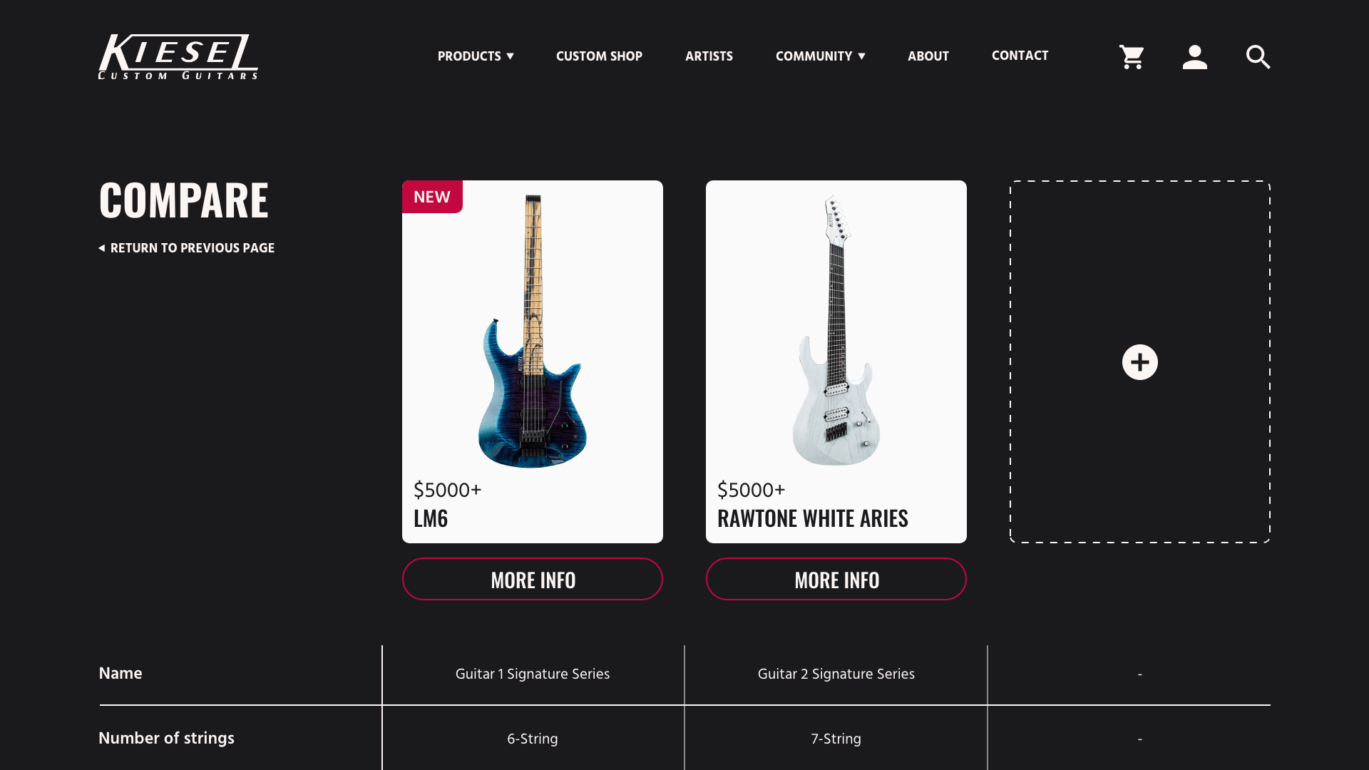 Kiesel guitars high fidelity UI