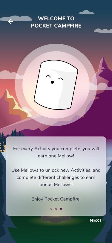 Pocket Campfire high fidelity UI