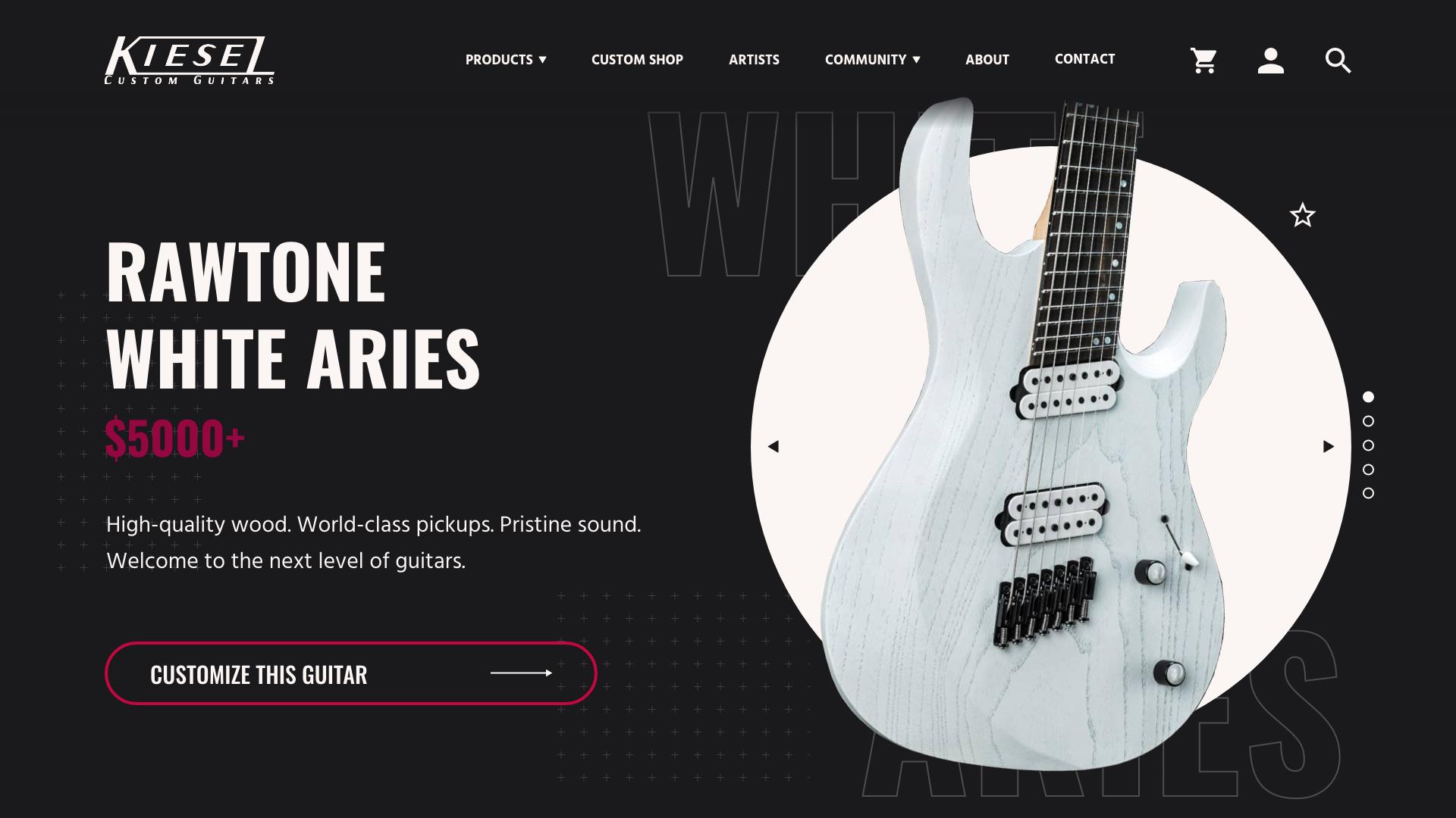 Kiesel Guitars Responsive Website Redesign Case Study