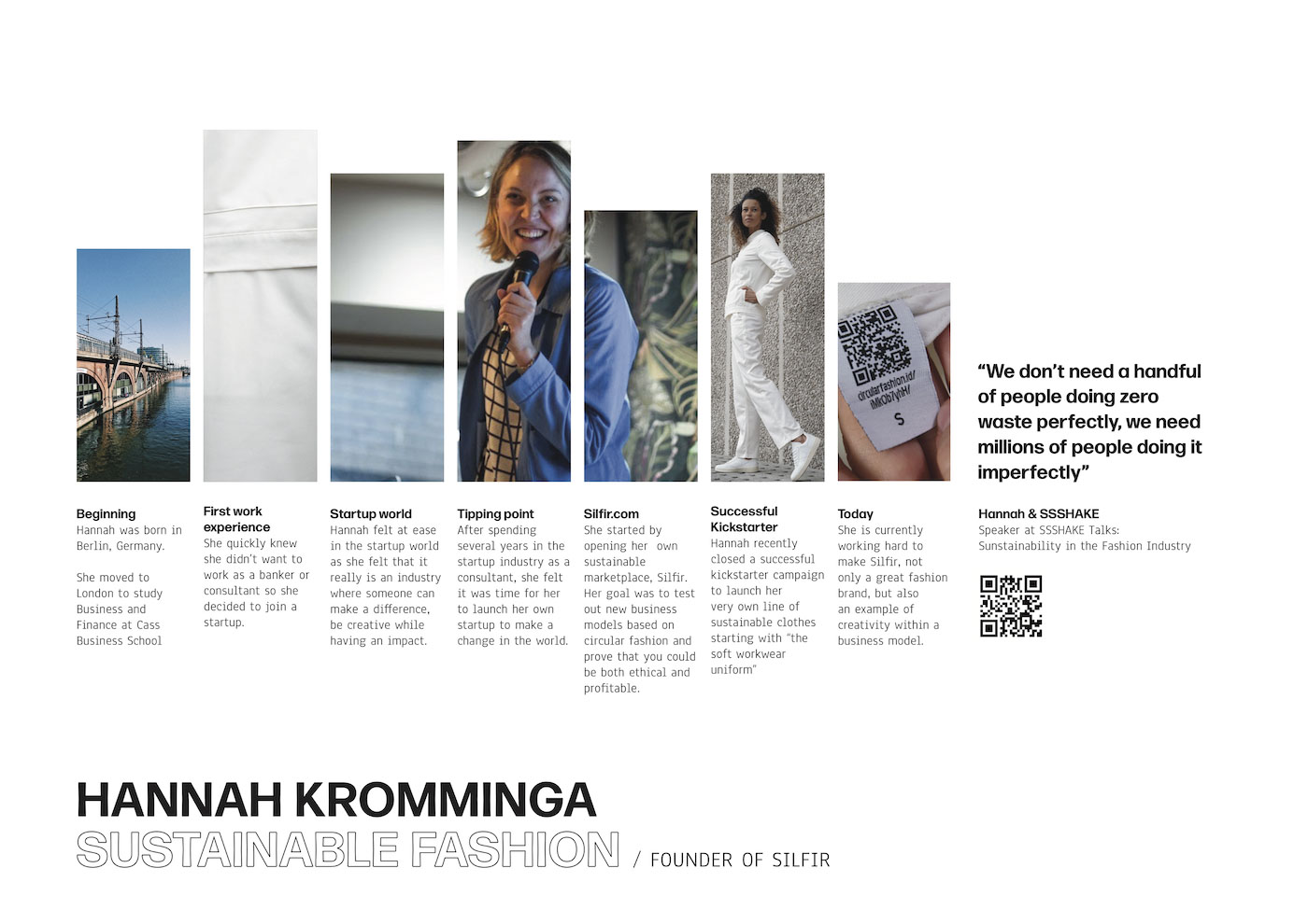 Poster about Hannah Kromminga, Founder of Silfir and speaker at SSSHAKE Talks, at the UCAS Create Your Future 2019, at ExCel London