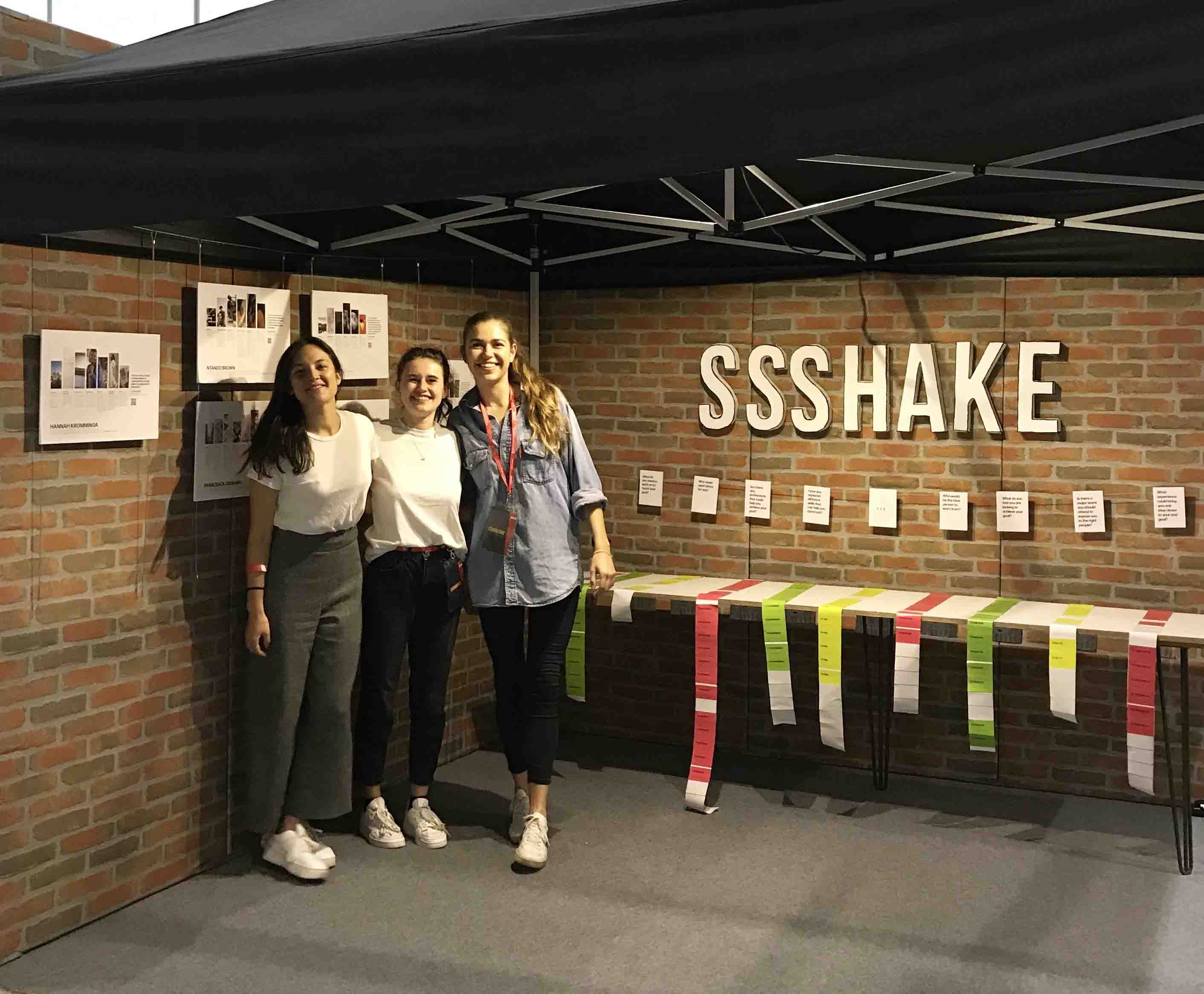 The SSSHAKE team in front of their interactive stand at the UCAS Create Your Future 2019, at ExCel London