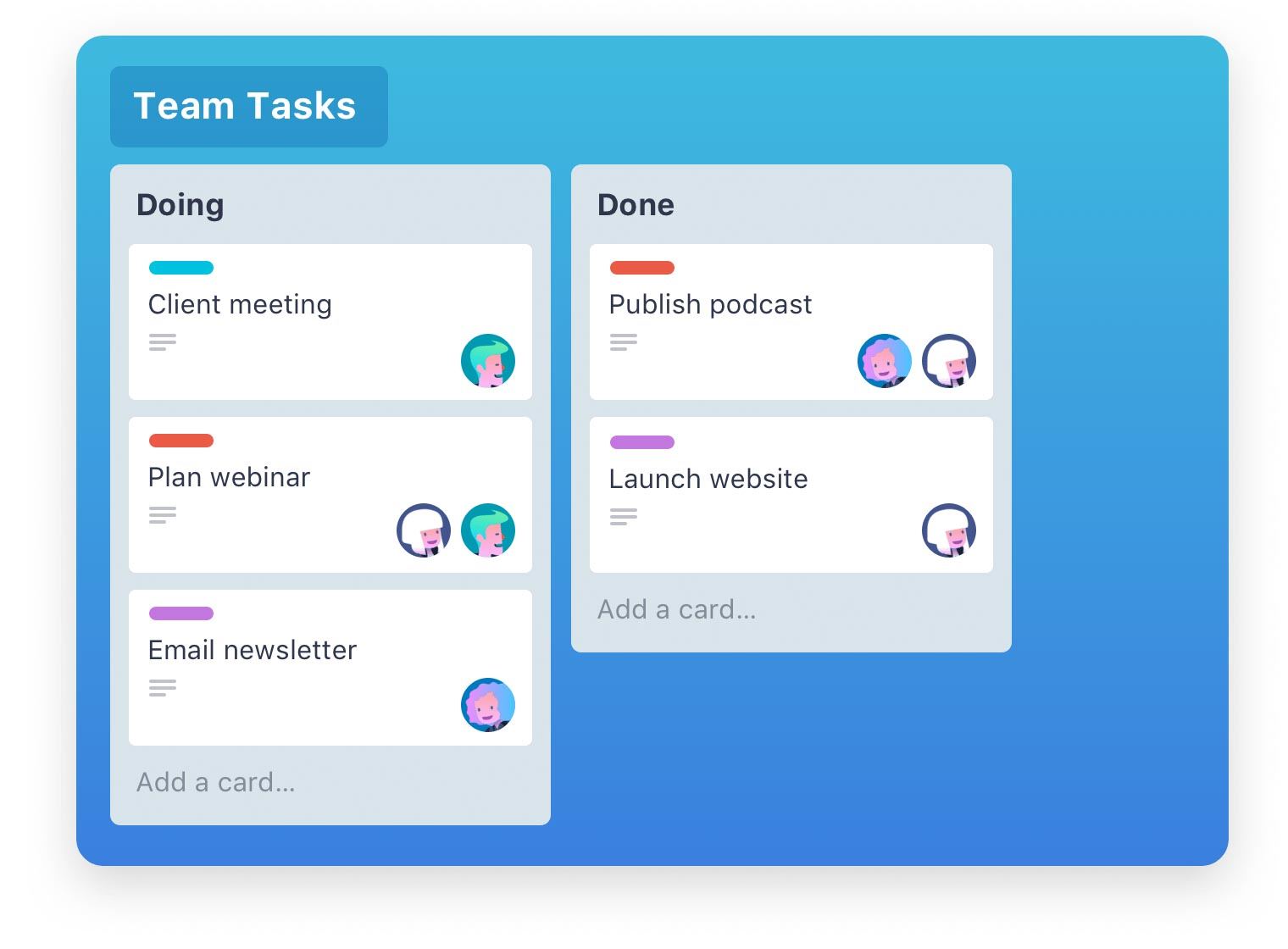 Screenshot of Trello, an online task management tool which helps you organise and order your jobs with clean, colourful cards and lists.