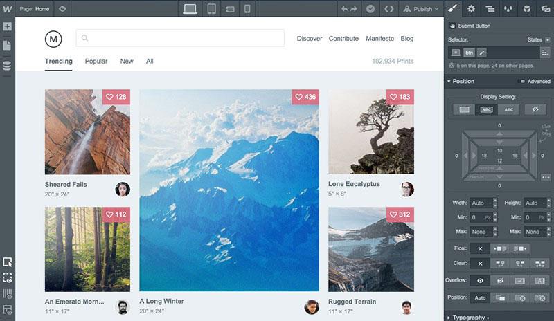 Screenshot of Webflow, an online website builder and tool for website development