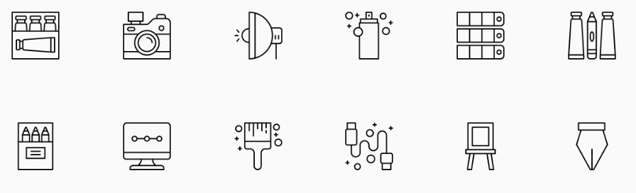 Examples of icons from The Noun Project, a free online library that contains icons and symbols for almost any word you can think of