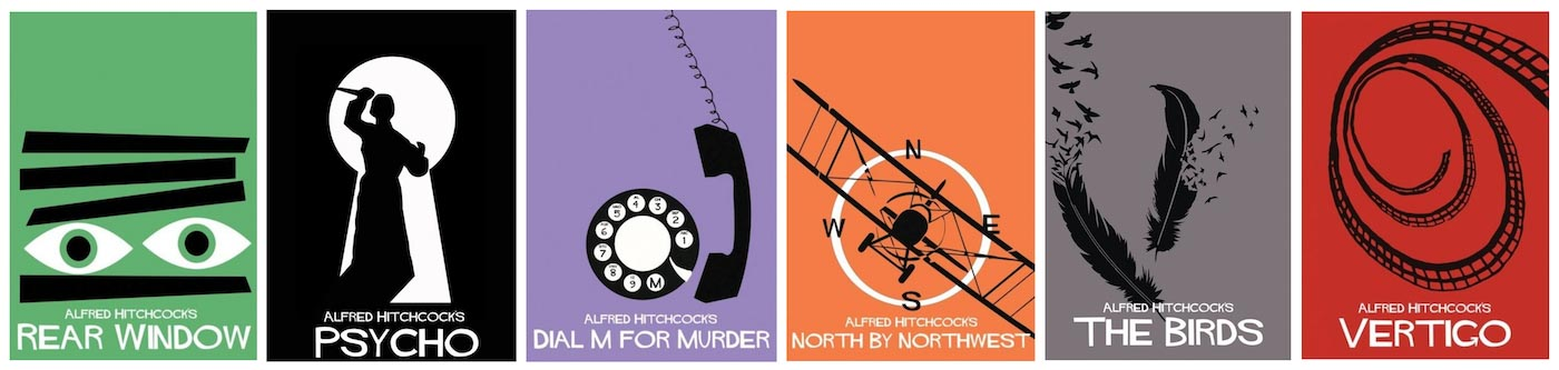A series of illustrated covers of Hitchcock films, including Rear Window, Psycho, Dial M for Murder, North by Northwest, The Birds, and Vertigo