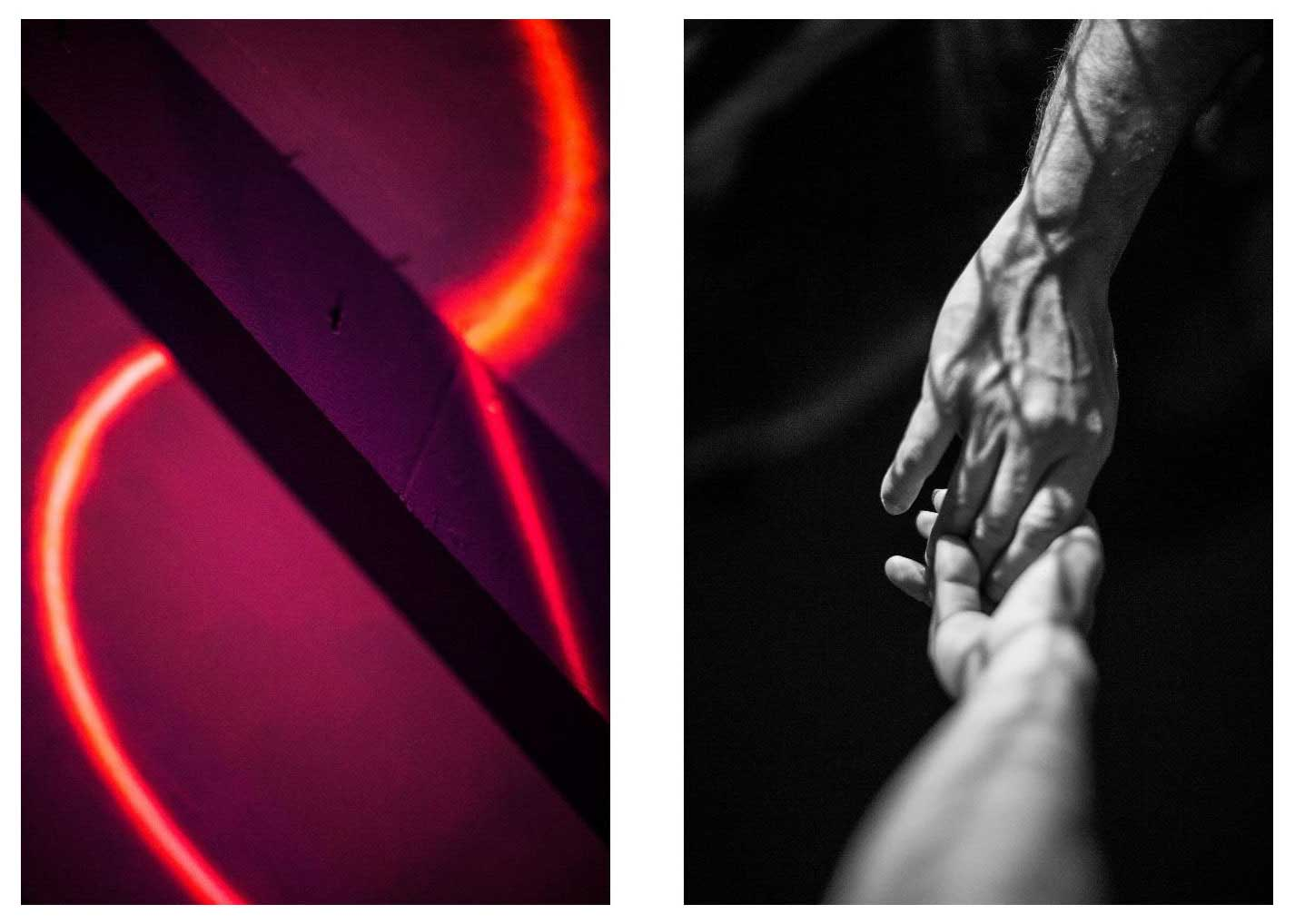 An abstract image of a red neon light on a pink and purple background next to a black and white image of two hands holding each other