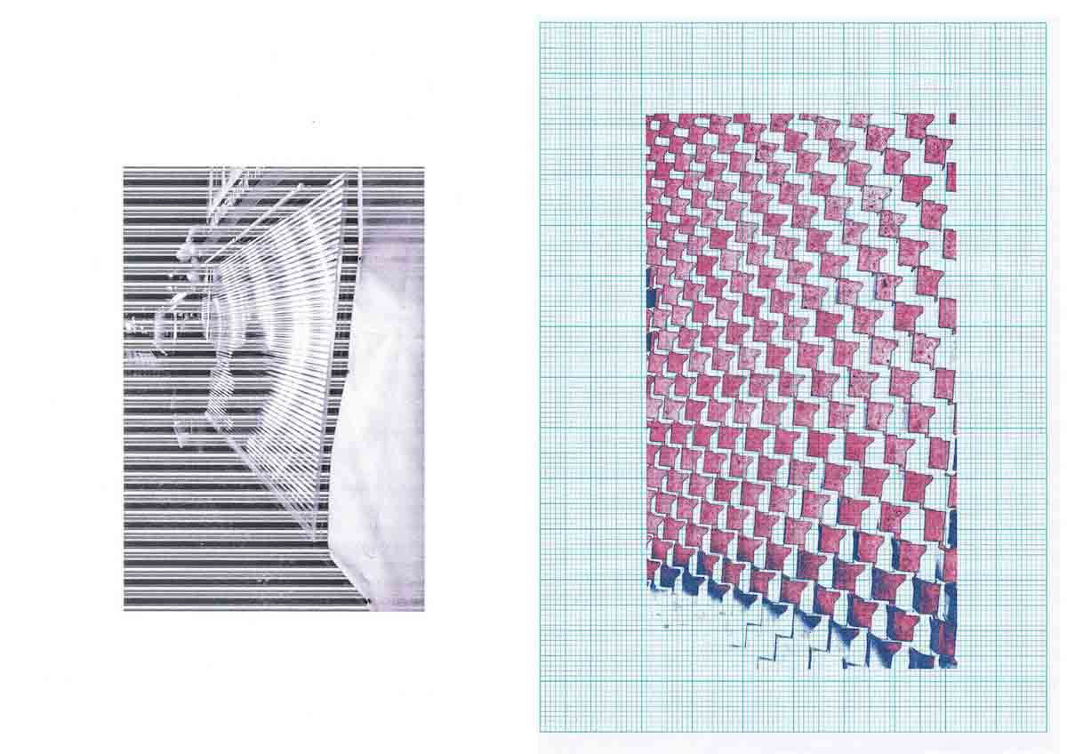 A black and white abstract linear image next to an abstract coloured image on checkered paper sheet