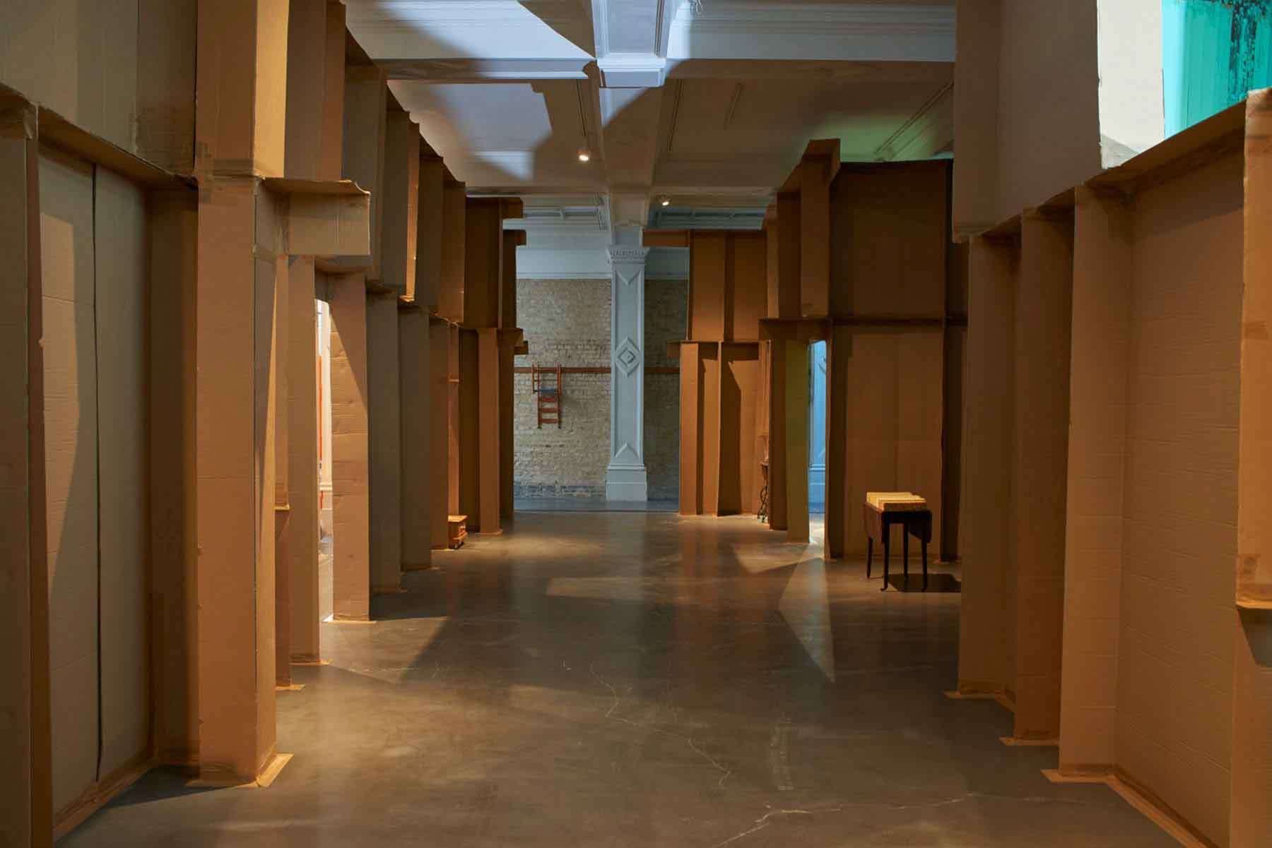 An installation by Carlos Bunga of walls and features made of cardboard at the Whitechapel Gallery, London, UK.