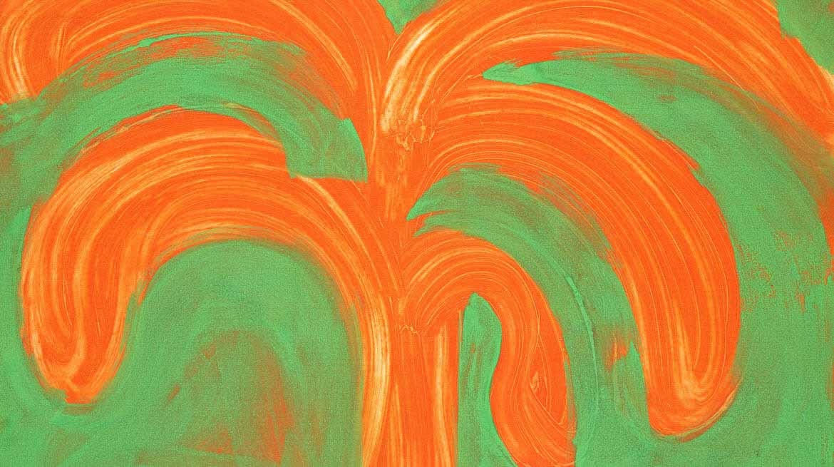 A non-distinct painting of a, orange palm tree on a green background
