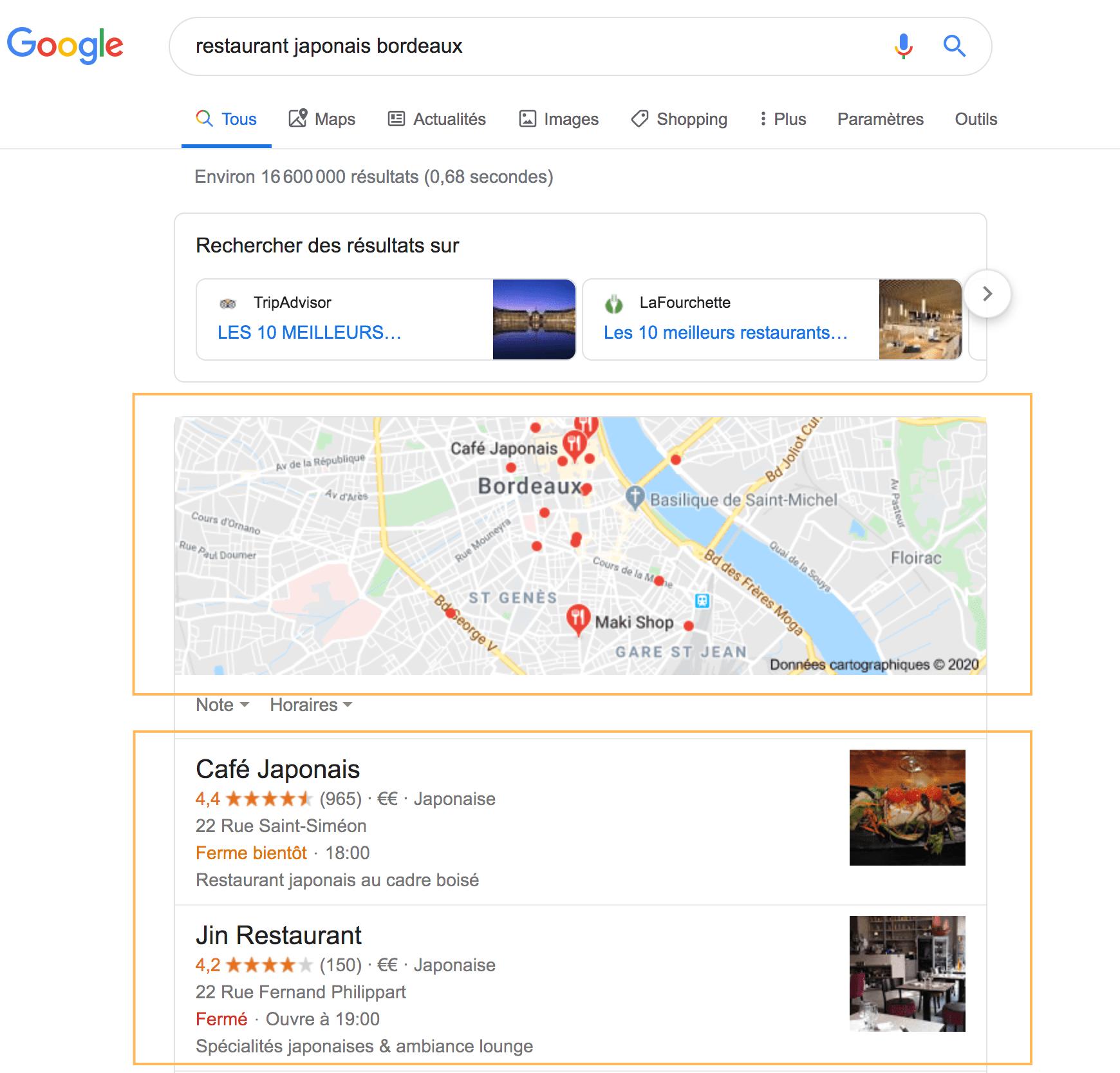 Résultats Google Référencement Local