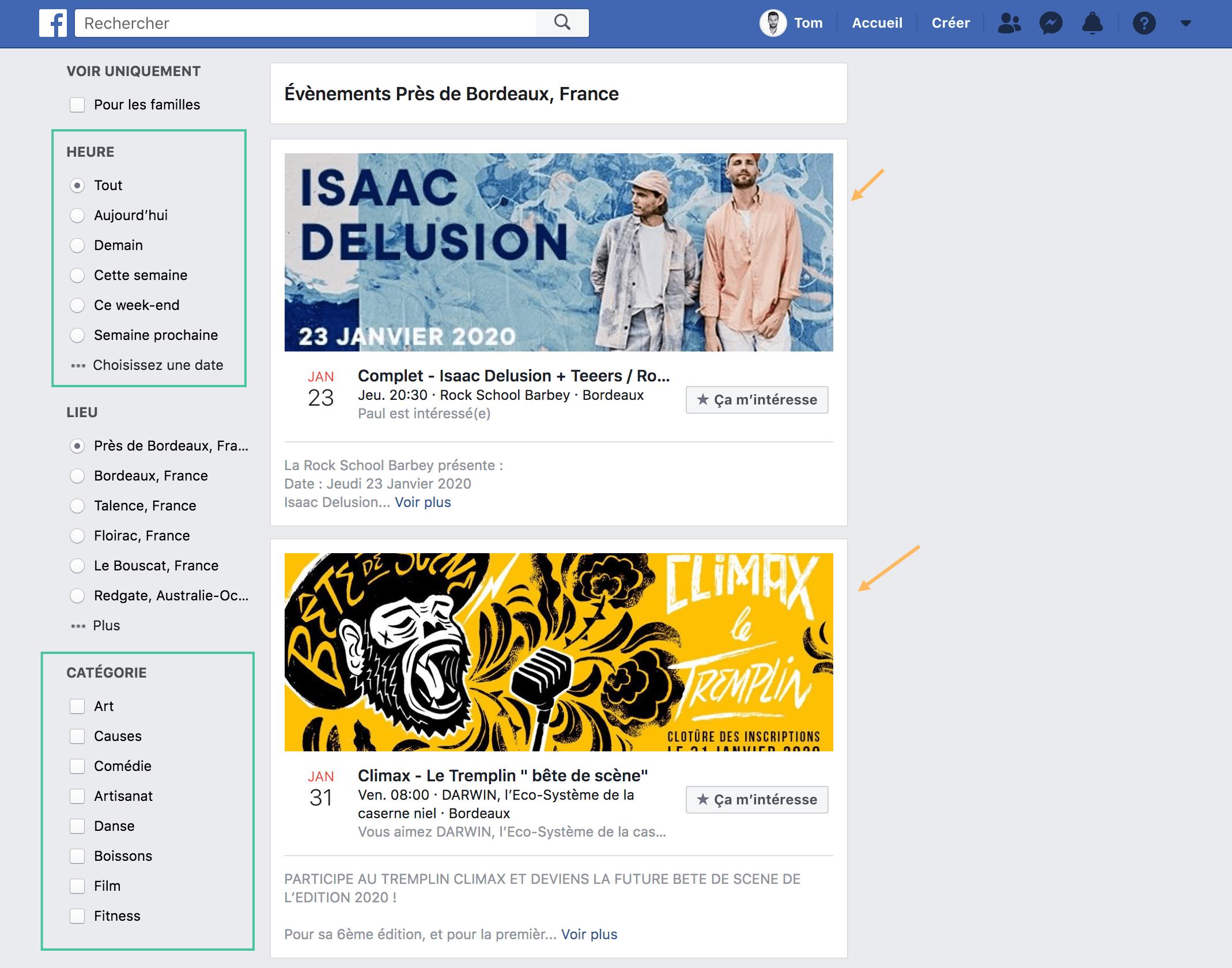 Évènements Facebook
