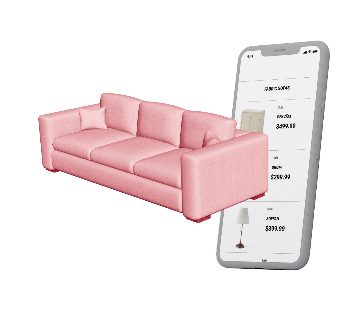 Example of sofa in augmented reality shelf