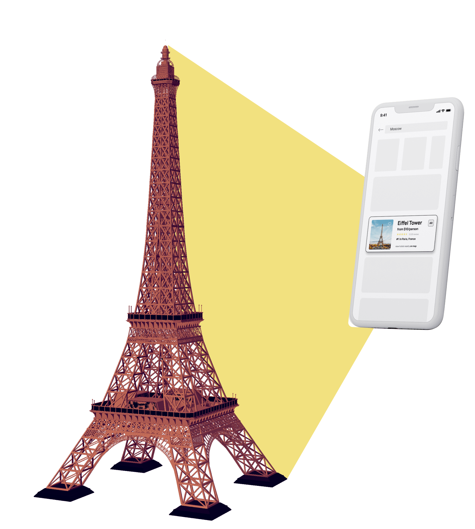 Example of augmented reality for tourism app