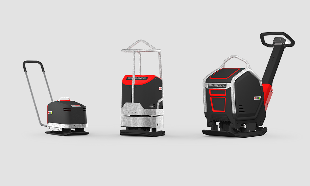 Three different Swepac models in black, red and metal