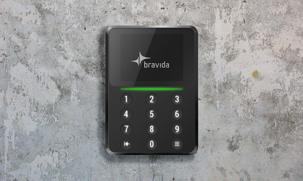 Rendering of Bravida security system device in black on concrete background
