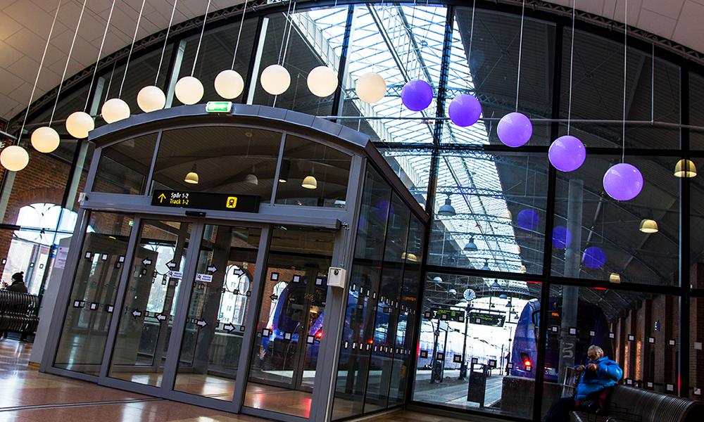 Skånetrafiken Minutes of Light installation at Trelleborg Train Station