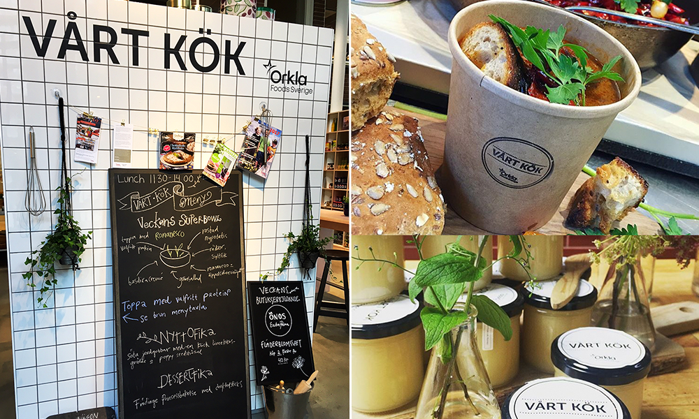 Kitchen environment with Vårt Kök logo and a prepared soup in a brown paper cup