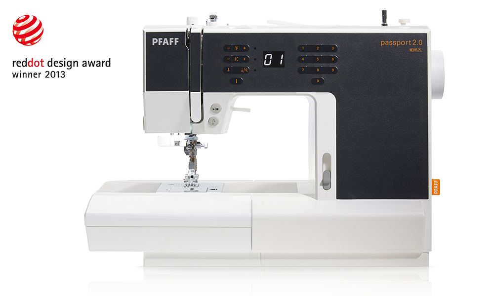PFAFF Passport 2.0 Sewing machine in black and white with Red Dot Award logo