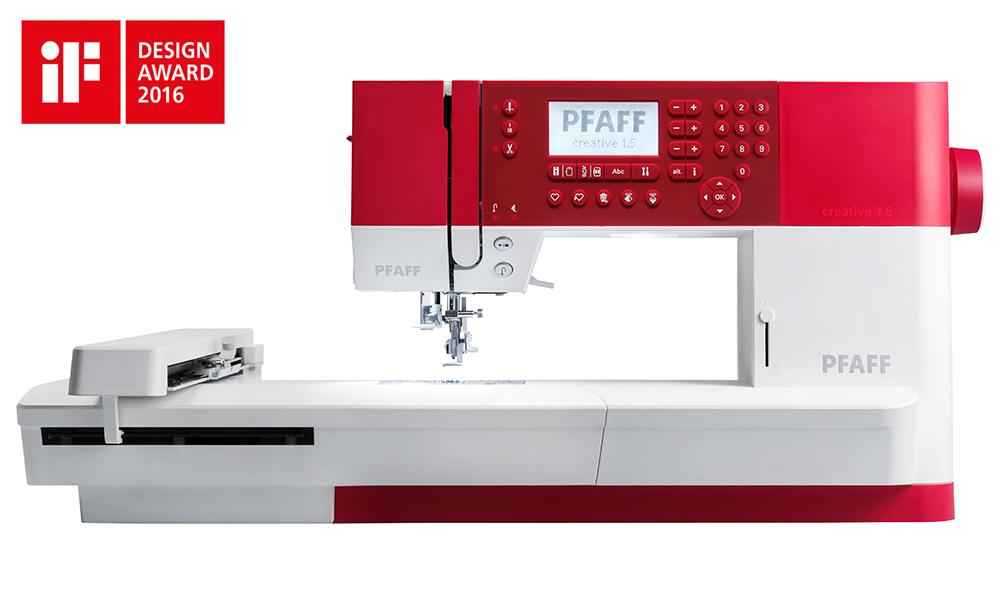 PFAFF Creative 1.5 Sewing Machine in red with IF Design Award logo