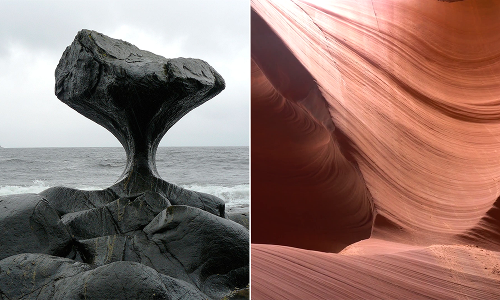 Water curved stone in Norway and age rings in Arizona desert