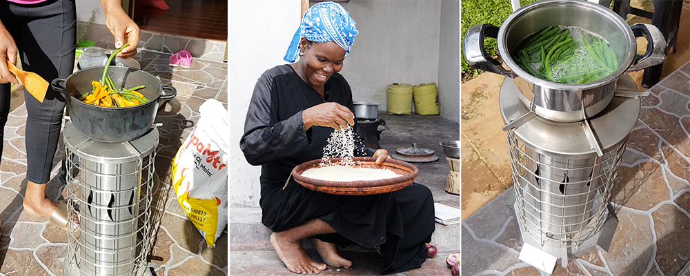Collage of ECS Pellet Stove and an african woman cooking with Rice